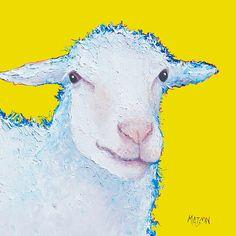 Happy little lamb!  #nurserywallart #nurseryart #nurserydecor #sheeppaintings #kitchenart #countryhomedecor