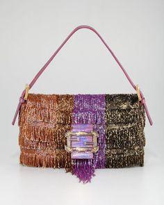 3fde7c47bcd4 Fendi Beaded Fringe Baguette Fendi Best Handbags
