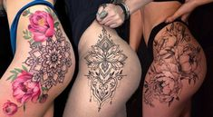 If you are thinking of having some tattoo designs, why not try some sexy tattoo ideas? That is not a bad idea if you think about it. Women are becoming more into the idea of having some tattoos on their bodies, some can do it, but not many. Hip Thigh Tattoos, Floral Thigh Tattoos, Hip Tattoos Women, Best Tattoos For Women, Mommy Tattoos, Hot Tattoos, Body Art Tattoos, Sleeve Tattoos, Cover Tattoo