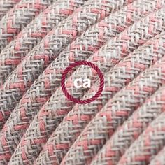 RD61 |lorenge| Fabric cable covered by pink cotton and natural linen fabric! DIY lamps. http://www.creative-cables.gr/-/6930-round-electric-fabric-cable-for-lamps-decoration-lozenge-rd61-in-coarse-linen-and-ancient-pink-cotton.html