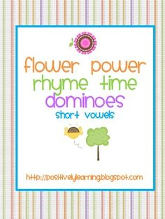 Here's a rhyming activity featuring 24 short vowel word-dominoes (48 words, plus 5 activity pages. On sale thru Tuesday for $2.40 + 10% off!