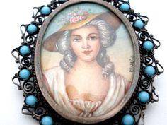 Antique Hand Painted Pendant Brooch Portrait Turquoise 800 Silver Miniature   eBay