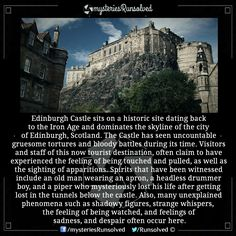 "[Click ""visit"" to read the full story] Haunted Edinburgh Castle Scary Creepy Stories, Creepy Facts, Wtf Fun Facts, Ghost Stories, Horror Stories, Most Haunted, Haunted Places, Strange History, History Facts"