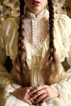 Perfect photo, love the Gunne Sax with braids.  Very Laura Ingalls.-- So awesome.