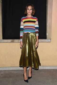 enjoycolorfullife: alexastyle: Alexa Chung at the Alessandro Michele honored dinner hosted by François-Henri Pinault during Milan Fashion Week on September 2015 in Milan, Italy. Alexa Chung Style, Alexa Chung 2016, Look Fashion, Skirt Fashion, Fashion Outfits, Outfit 2017, Socks Outfit, Metallic Pleated Skirt, Gold Skirt
