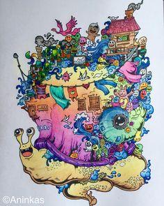 The Doodle Snail is done :-) #kerbyrosanes #doodle #doodles #doodleinvasion #snail #adultcoloringbook #adultcoloring #antistresscoloringbook #coloring #rainbow