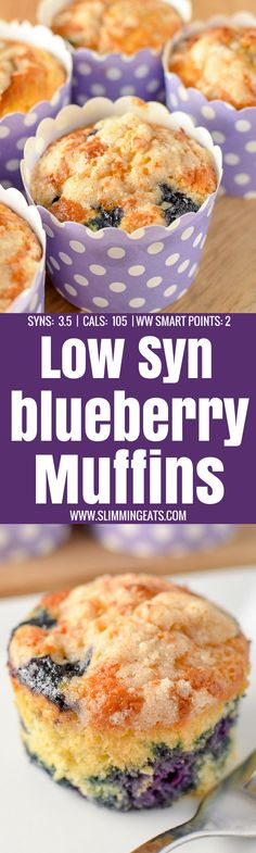 2 Weight Watchers smart points on Flex and Freestyle - these moist delicious Blueberry Muffins are the perfect treat. Slimming World Desserts Puddings, Slimming World Deserts, Slimming World Dinners, Slimming World Breakfast, Slimming World Recipes Syn Free, Slimming Eats, Slimming Word, Slimming World Muffins, Slimming World Syns