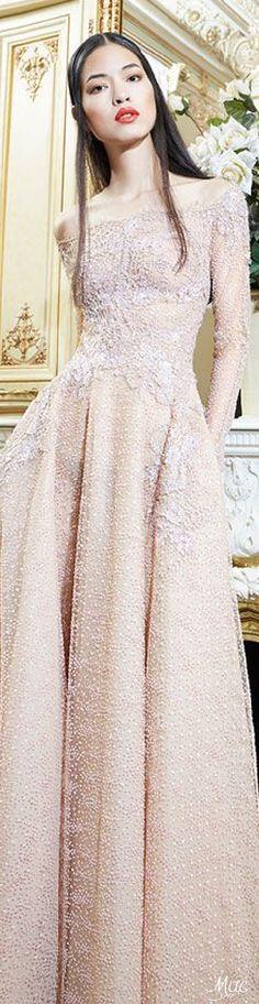 Yolan Cris ~ Haute Couture Off the shoulder Lace Applique Blush Gown 2015