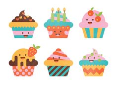 Cupcake illustrations by Elena Lazutina