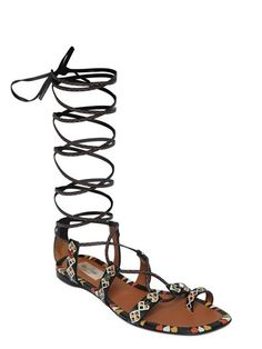VALENTINO PRIMITIVE PRINT LEATHER LACE-UP SANDALS - LUXURY SHOPPING WORLDWIDE SHIPPING – FLORENCE