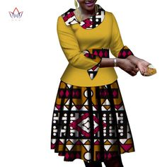 African Women Clothes long Sleeves Print Tops and Skirt Sets Bazin Riche African Clothing 2 Pieces Customize Skirts Sets Best African Dresses, Latest African Fashion Dresses, African Print Dresses, African Print Fashion, African Attire, Ankara Fashion, Africa Fashion, Tribal Fashion, African Prints