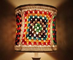 LOVE - a crochet granny square lamp shade, don't even need a pattern for that!