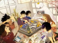 HAPPY NEW YEAR 2015 This scene is AWESOME. Tadashi is there alive, Mochi is included, and everyone's having an awesome time. This IS MY DREAM COME TRUUUUE! :D <3 I LOVE whoever drew this.