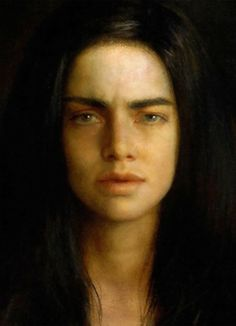 Steven Assael (b. 1957), oil on canvas {figurative art instructor beautiful female head dark hair woman face portrait cropped painting} stevenassael.com