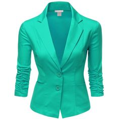 Doublju Womens 3/4 Sleeve Spandex Peaked Collar Cropped Blzer ($41) ❤ liked on Polyvore featuring outerwear, jackets, blazers, tops, cropped jacket, cropped blazer, 3/4 sleeve blazer, green jacket and green blazer