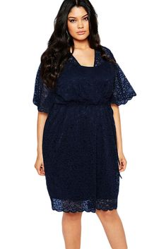 Navy 2pcs Plus Size Lace Wrap Dress