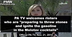 """PA TV welcomes rioters who are """"preparing to throw stones"""" and """"molotov cocktails"""" Official Palestinian Authority TV and Fatah continue to promote violence and terror in and around... #Jerusalem #PA #TV - http://www.factualisrael.com/pa-tv-welcomes-rioters-preparing-throw-stones-molotov-cocktails/"""