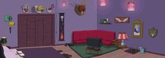 I love Adventure Time, and the show has a great art blog. They post lots of episode backgrounds -- this is the interior of a vampire's house.