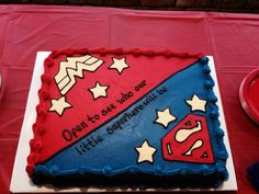 Gender reveal cake for the comic nerds. I designed this one myself.