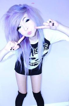 "Emo hairstyles are a common hairstyles that many teens try out. Emo hairstyles are based on the looks of punkRead More Interesting Emo Hairstyles for Girls"" Pastel Hair, Pastel Goth, Purple Hair, Pastel Purple, Red Hair, Pastel Shades, White Hair, Periwinkle, Light Purple"