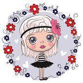 Bonito dos desenhos animados menina e flores
