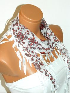 Personalized Design red white Scarf Turkish by WomanStyleStore, $14.00