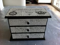 Jewel box decorated with image transfer and stamps