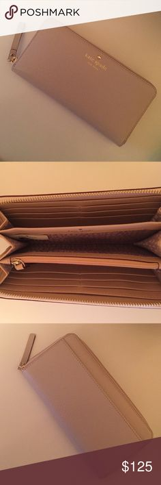 """🎉Host Pick!🎉Kate Spade Grand Street Wallet Classy wallet. """"Pebble"""" colored - like cream with a hint of light pink. Center coin pocket, 12 credit card pockets, center divide, two edge bill pockets, and a full outside pocket. Gold hardware, leather. Brand new! I bought it online, no refunds and it didn't match my purse :( super cute though! kate spade Bags Wallets"""