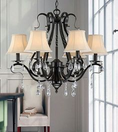 Black Wrought Iron Chandeliers With Crystals