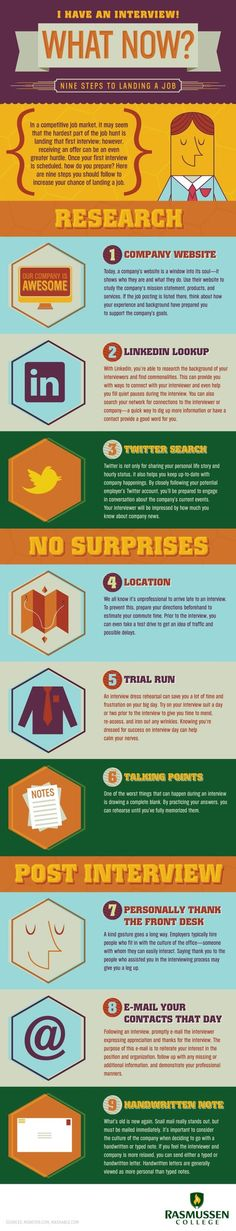 9 steps to landing a #job #infographic
