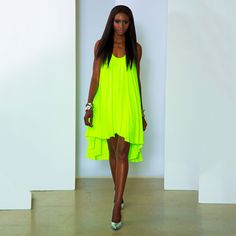 Tunic Dress Neon Lime - drapey cut that flows.  You would definitely be noticed in this little dress!