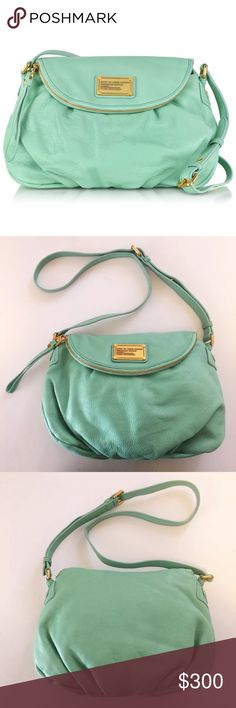 """Marc Jacobs Mint Classic Q Natasha ✨This style is no longer made, and it's hard to find mint in the regular size.  ✨Gold hardware. Zip pocket flap with magnetic snap closure. Two interior slip pockets and one interior zip pocket.  ✨Approximately 14""""W x 10""""H x 3""""D with a 20-24"""" adjustable strap drop.  ✨New without tags.  ✨Be sure to check back! I'm doing a closet clear out.  ✨instagram➡️mostlymarc Marc By Marc Jacobs Bags Crossbody Bags"""