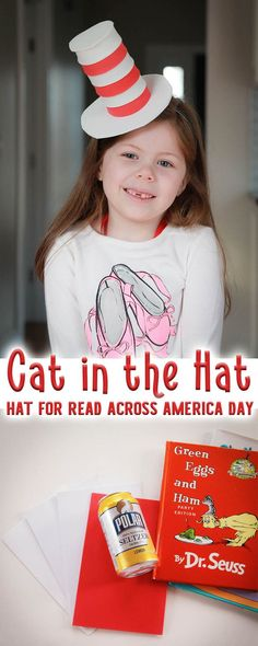 Celebrate Read Across America Day (also known as Dr. Seuss' birthday with this quick and easy Cat in the Hat hat. You can make it in minutes with simple craft materials. Perfect to wear and read your favorite Dr. Seuss Books #DrSeuss #ChildrensBooks #EarlyLiteracy via @playgroundpb