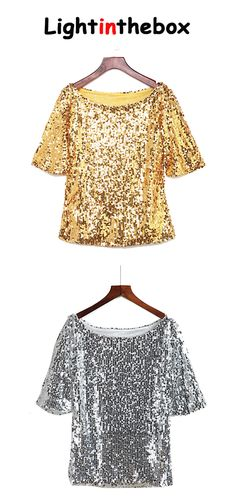 Women's Sequin Solid Gold Sequins Plus Size T-shirt