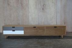 57 teak TV-cabinet 4Drw 45x200x40 cm - natural-grey+white - Cabinets - TV & audio - Dining room - Living room - Meubelklik Tv Cabinets, White Cabinets, Decoration, Grey And White, Teak, Dining Room, Storage, Furniture, Audio