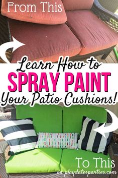 Learn all the tips and tricks to get the best results from spray painted patio cushions.and the truth about whether or not it's worth the the effort. Painting Patio Furniture, Painted Outdoor Furniture, Spray Paint Furniture, Metal Patio Furniture, Patio Furniture Cushions, Patio Cushions, Antique Furniture, Furniture Ideas, Modern Furniture