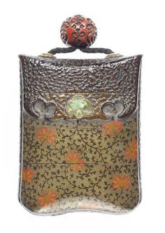 A three-case inro of pouch shape Attributed to Ogawa Haritsu (Ritsuo, 1663-1747), 18th century In the form of an upright tabako-ire, the silver lacquer ground lacquered with scrolling flowerheads in gold, red and green hiramakie, and with green enamel mae kanagu, the top and reverse are of roughened brown lacquer simulating leather, and the interior is of nashiji, two cases divided in two parts, signed Ritsuo with seal Kan.
