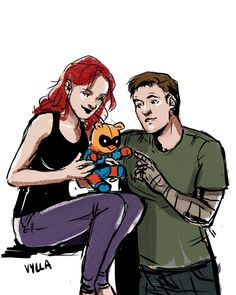Bucky Barnes and Natasha Romanov play with Bucky Barnes fanart by firstenchantervivienne