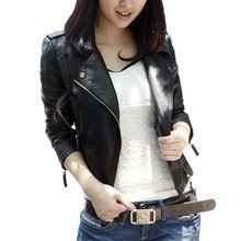 2017 autumn women black slim Korean style PU leather jackets sweet bodycon full sleeve zipper femme outwear coat plus size(China (Mainland))