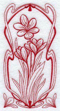 Art Nouveau Crocus (Redwork)