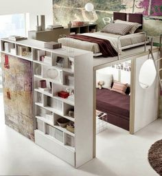 I love this little loft space. Perhaps in a dorm or a small apartment were storage and/or space is needed. So cute!!