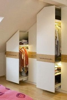 7 Fabulous Tips: Attic Space Master Suite cozy attic loft.Old Attic Small Spaces attic bedroom master.Walk In Attic Remodel. Storage, Closet Bedroom, Wardrobes, Built In Wardrobe, Loft Room, Attic Spaces, Home Decor, Small Bedroom, House Interior