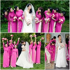 A Vietnamese Wedding in Pink and Ivory. The Bridesmaids' ao dai are all different.