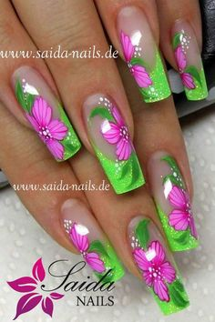 34 ideas nails art green fluo – Apocalypse Now And Then Flower Nail Designs, Flower Nail Art, Cute Nail Designs, Neon Nail Art, Neon Nails, My Nails, Fancy Nails, Classy Nails, Cute Nails