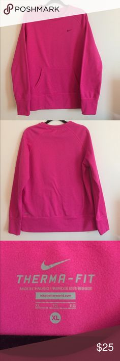 Hot Pink Nike Therma-Fit Sweatshirt Hot Pink Nike therma-fit sweatshirt with kangaroo pocket. Bought it, removed tags and never wore it. No issues to note, size XL Nike Tops Sweatshirts & Hoodies