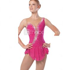 Ice Skating Dress Women's Sleeveless Snowsports Dresses Performance Spandex / Lace / Organza Crystals/Rhinestones / Ruffles 1 Piece Red 2017 - $62.99