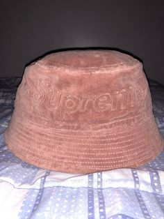 Supreme Lacoste Teal Velour Crusher Bucket Hat Salmon M L  fashion   clothing   c8dc00978dd2