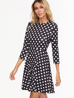 Black Polka Dot Print Skater Dress -SheIn(Sheinside)