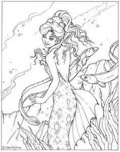 Fantasy Mermaid Coloring Pages Blank Coloring Pages, Detailed Coloring Pages, Mermaid Coloring Pages, Colouring Pics, Printable Coloring Pages, Coloring Books, Fantasy Mermaids, Mermaids And Mermen, Copics