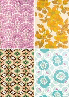vintage wallpaper by the style files Sala Grande, Kitchen Wallpaper, Retro Fabric, Retro Pattern, Textile Prints, Textiles, Surface Design, Surface Pattern, Fabric Wallpaper